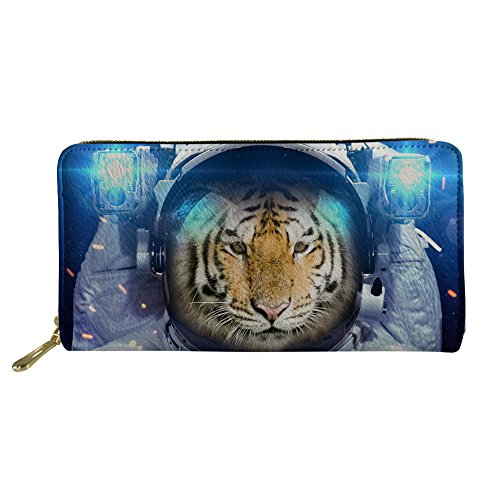 (JUSICA 3D Tiger Face Print Clutch Long Wallet Travel PU Leather Waterproof Purse for Women Girl)