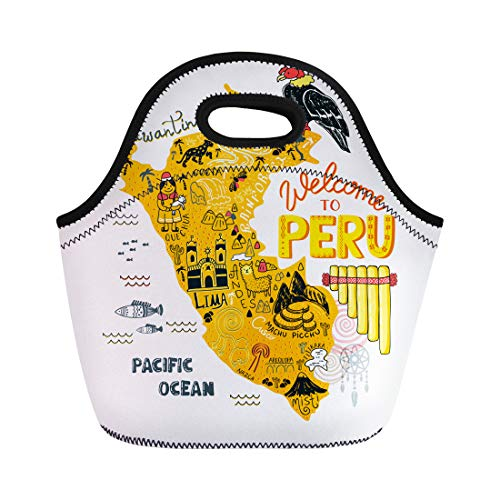 Semtomn Neoprene Lunch Tote Bag Map of Peru All Main Tourist Attraction the Country Reusable Cooler Bags Insulated Thermal Picnic Handbag for Travel,School,Outdoors,Work