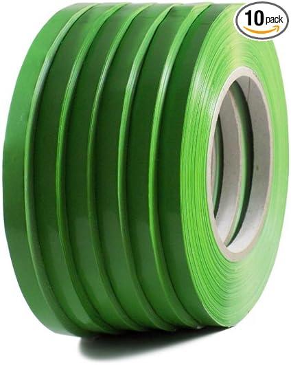 6 Rolls Dark Green Poly Bag Sealing Tape wide x 180 yds length 3//8 in