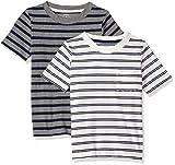 Carter's Boys' Toddler 2-Pack Tee, Grey Stripe/White Stripe, 5T