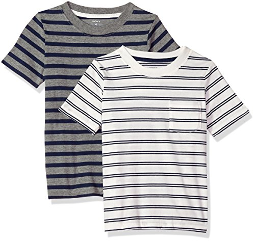 Carter's Boys' Toddler 2-Pack Tee, Grey Stripe/White Stripe, 3T