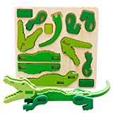 GreatFun Montessori Mini 3D Puzzle Toy Kids Educational Fun Toy Wooden Colorful Jigsaw Gift (Crocodile)