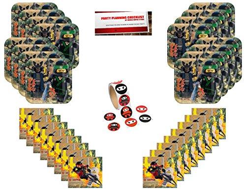 Ninjago Lego Happy Birthday Party Supplies Bundle Pack for 16 (Bonus 16 Ninja Stickers & Party Planning (Ninjago Birthday Party Supplies)