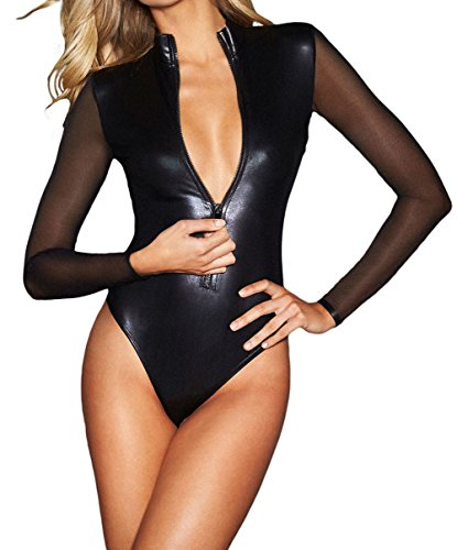 (Shawhuwa Womens Sexy Leather Mesh Long Sleeve Zip Front Bodysuit Tops (Small, Black)