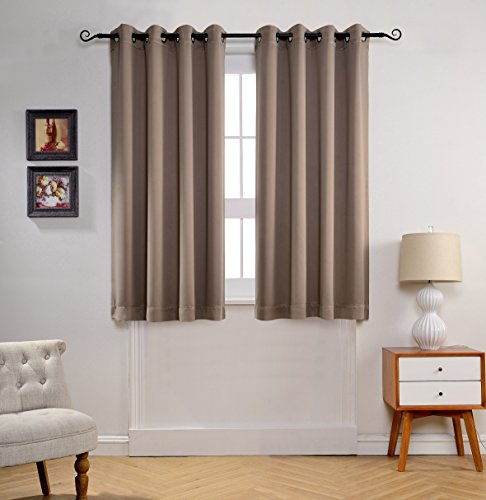 MYSKY HOME Solid Grommet Top Thermal Insulated Window Blackout Curtain For Living Room 52 By 63 Inch Taupe 1 Panel