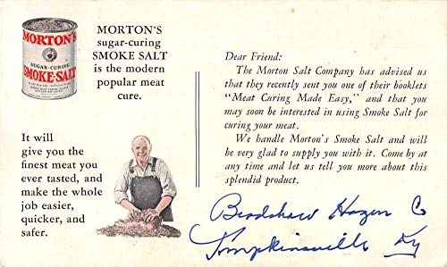 Morton's Smoke Salt Meat Curing Advertising Vintage Postcard JC932173