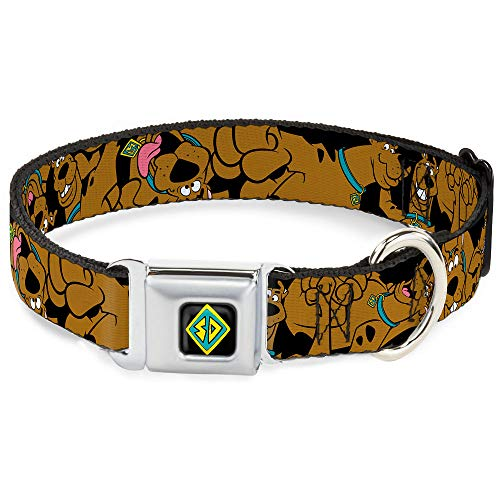 Dog Collar Seatbelt Buckle Scooby Doo Stacked Close Up Black 15 to 26 Inches 1.0 Inch Wide -