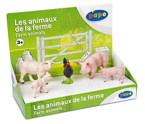 Papo Farm Animals Box Set 1 - Sheep, Lamb, Pig, Piglet, Rooster