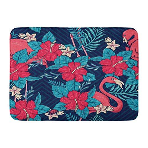 Emvency Doormats Bath Rugs Outdoor/Indoor Door Mat Red Pattern Hawaiian Floral and Flamingos Retro Vintage Luau Tahiti Bathroom Decor Rug Bath Mat 16
