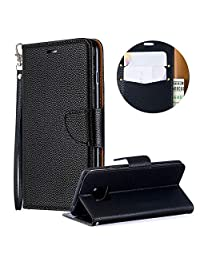 Luxury PU Leather Wallet Case for Huawei Mate 20 Pro,Flip Folio Case for Huawei Mate 20 Pro,Moiky Black Multifunctional Magnetic Kickstand Case Cover With Wrist Strap and ID&Credit Cards Slots