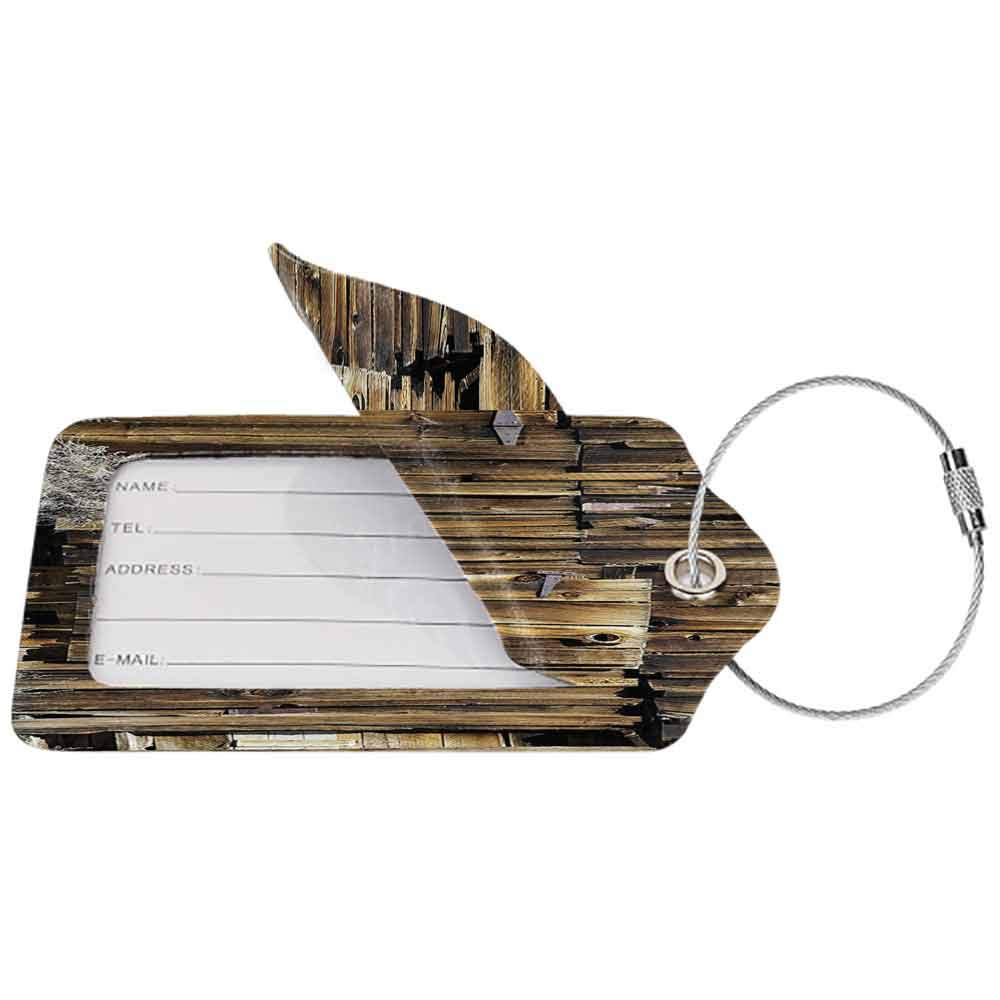 Decorative luggage tag Rustic Oak Barn Siding Door Cracked Rusted Hinges Dated Timber Mansion Farmland Nobody Design Suitable for travel Brown W2.7 x L4.6