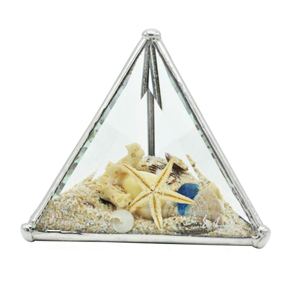 Christina Home Designs Beach Gifts - Mini Beach Kaleidoscope Pyramid 4'' x 4'' x 4'' - Small Collectable Ocean Sand Theme, Coastal Decor for Bathroom - Compact Vacation Gift Ideas for Women, Accessories