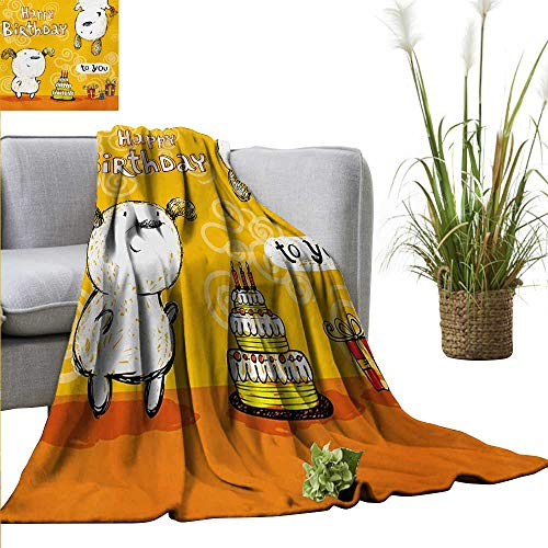 """AndyTours Weighted Blanket,Kids Birthday,Sketchy Hand Drawn Dogs with Floral Backdrop Image Cartoon Fun Print,Marigold and White,Indoor/Outdoor, Comfortable for All Seasons 60""""x70"""""""