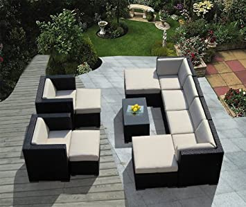 Genuine Ohana Outdoor Patio Sofa Wicker Sectional Furniture 11pc Couch Set Beige Cushion with Free Patio Cover