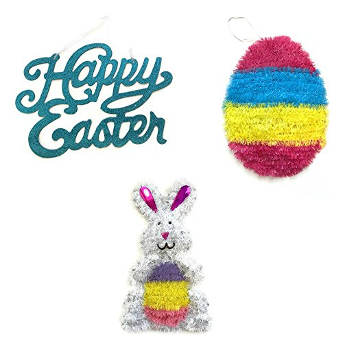 Hanging Easter Decorations Bundle of 3: Happy Easter Hanging Sign, Easter Bunny, and Easter Egg