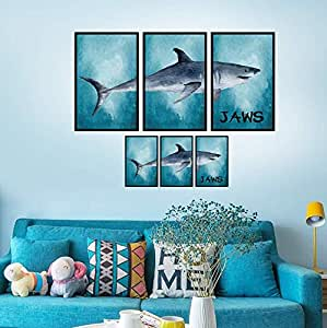 3D Wall Decals Stickers for Room Home Removable Wall Art Decals Wall for kids Rooms DIY Home Decoration (Blue Ocean JAWS Shark)