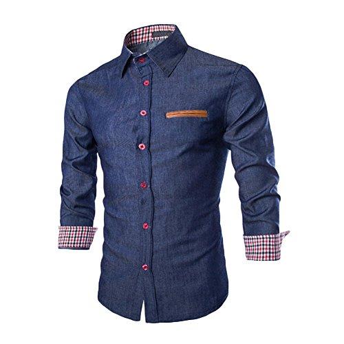 West See Herren Männer Freizeit Hemd Langarm Shirts Slim Fit Business Bügelleicht (DE M, Dunkelblau)