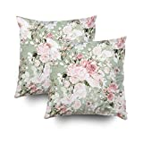 ROOLAYS Decorative Throw Square Pillow Case Cover 20X20Inch,Cotton Cushion Covers rose buds leaves H Both Sides Printing Invisible Zipper Home Sofa Decor Sets 2 PCS Pillowcase