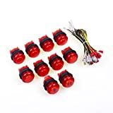 Easyget Arcade Game DIY Parts 1P / 2P Player Start Button + 8X 5V LED Illuminated Push Buttons with Microswitch For MAME / JAMMA / Fighting Games / Arcade Vieo Games - Red