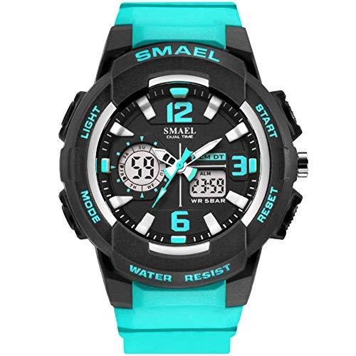 KXAITO Ladies Outdoor Waterproof Sports Watch Women Top Brand Quartz Watch Fashion Bracelet Movement Analog-Digital Display Girls Wrist Watches (Lake_Blue)