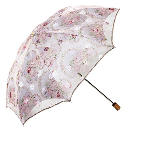 Yamix Umbrella, Creative Embroidery Double Layer Parasol UV Block Protection Lace Umbrella for Lady - Beige + Pink (Parasol Deluxe Lace)