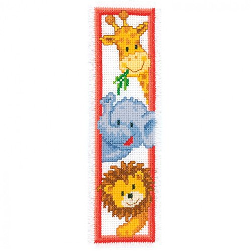 Vervaco Counted Cross Stitch Kit Bookmark Zoo Animals