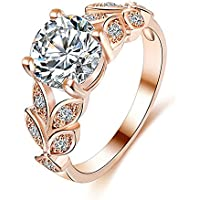 Rings,AutumnFall 2017 New Design Flower Crystal Wedding Ring Jewelry Accessories Engagement Ring For Women (Size 6, Rose Gold)