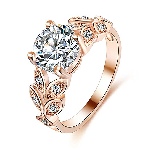 (Bookear Flower Crystal Wedding Ring for Women Jewelry Accessories Rose Gold Gold Engagement Ring (Silver, 6))