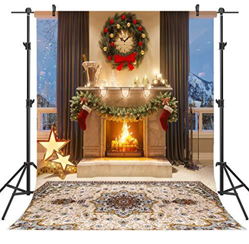 OUYIDA 6X9FT Seamless Christmas Themed Fireplace Vinyl Photography Backdrop Photo Background Studio Prop CEM04B