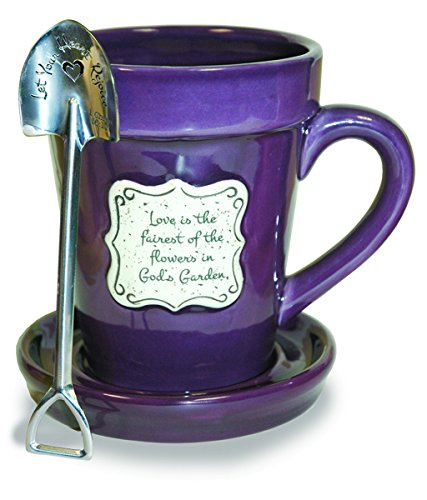 Divinity Boutique 22863 Flower Pot Love Is - Purple (Spoon With Scripture), Multicolor