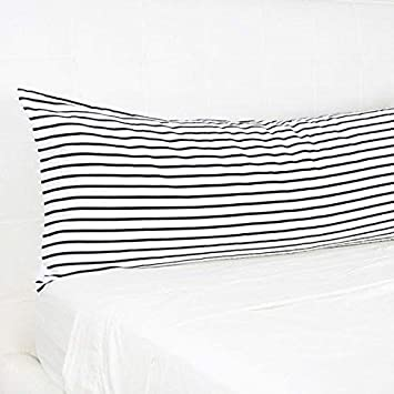 Thisnew Stripe Long Body Pillow 20x54 Inch Black And White Body Pillow Cover With Zipper Silky Long Body Pillowcase For Bed Machine Washable Home Kitchen