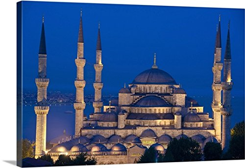 Ian Cumming Premium Thick-Wrap Canvas Wall Art Print entitled The Sultanahmet Or Blue Mosque At Dusk; Turkey