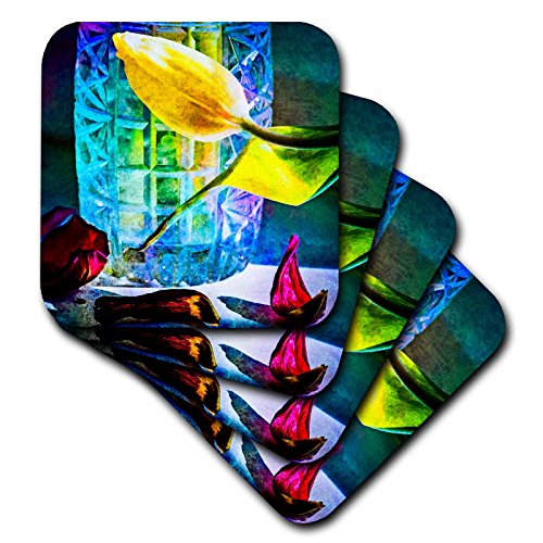 Vase Flora Crystal (3dRose Alexis Photography - Flowers Tulip - Sunlit tulips and crystal vase. Decay - set of 4 Coasters - Soft (cst_267123_1))