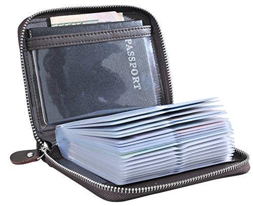 Large Credit Card Holder Wallet Genuine Leather Passport Holder 42 Card Slots (Coffee)