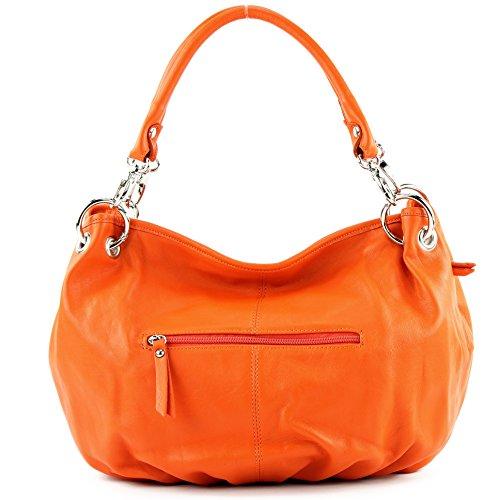 Made Italy - Bolso al hombro de cuero para mujer naranja