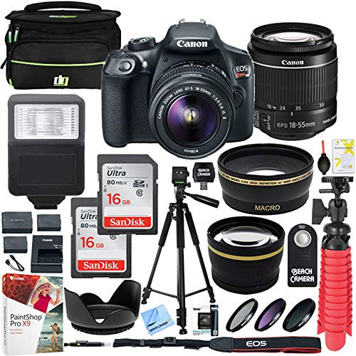 Canon T6 EOS Rebel DSLR Camera with EF-S 18-55mm f/3.5-5.6 is II Lens and Two (2) 16GB SDHC Memory Cards Plus Triple Battery Tripod Cleaning Kit Accessory Bundle (Deluxe Slr Pro Camera Case)