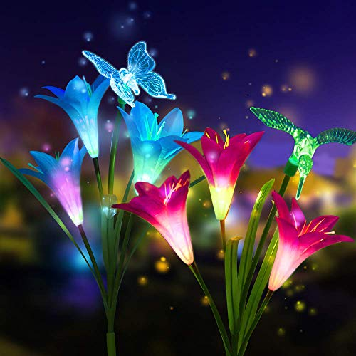 (2 Pack Outdoor Solar Garden Stake Lights - Solar Powered Multi-Color Changing Lights with 3 Lily Flowers and Butterfly, Hummingbird, Dragonfly, Solar LED Decorative Lights for Garden (Blue +)