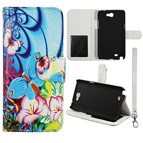 Flip Wallet Blue Pink Butterfly Flower Samsung Galaxy Note 2, II N7100, T889 Leather Pouch With ID Slot Case Cover Hard Phone Case Snap-on Cover Rubberized Touch Faceplates