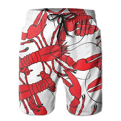 - Agasi 2017 New red Lobster Men's Beach Shorts Quick Dry sea Desktop Pattern Swim Trunks