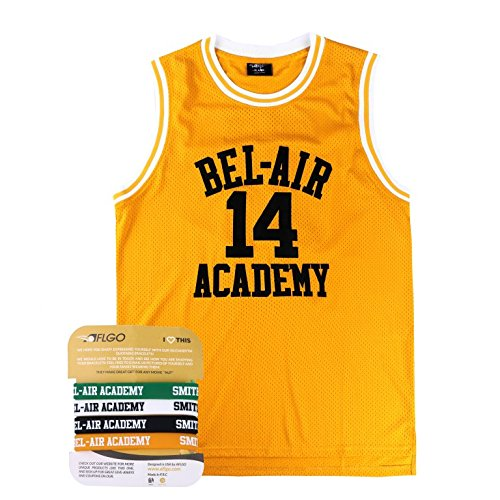 The Fresh Prince Of Bel Air Academy Jersey Will Smith Include Free Wristbands (YELLOW, XL)