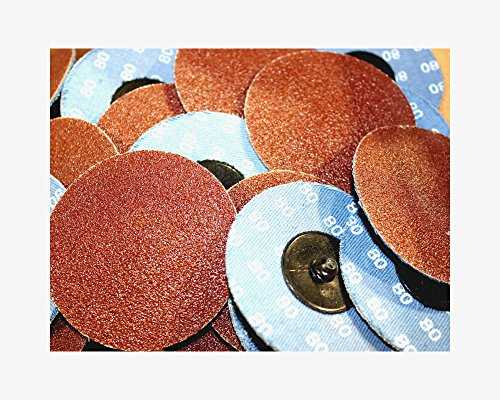 Car Builder Supply 731q25 Sand Loc Quick Change Type R Grinding Sanding Disc 3'' 80 Grit Aluminum Oxide (AO) 25pc by Car Builder Supply