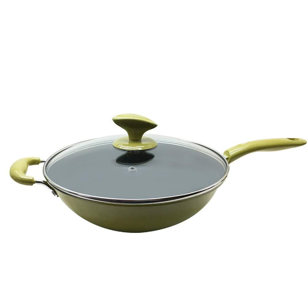 Pan antiadherente sartén de cristal wok estufa de gas cocina de inducción olla de hierro universal olla olla de cocina 32 cm: Amazon.es: Hogar