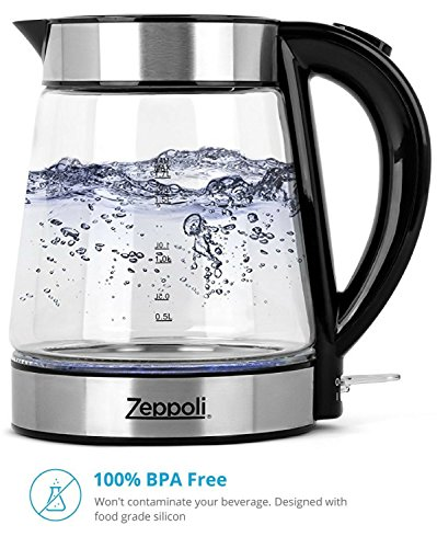 Zeppoli Electric Kettle - Glass Tea Kettle (1.7L) Fast Boiling and Cordless, Stainless Steel Finish Hot Water Kettle – Hot Water Dispenser - Glass Tea Kettle, Tea Pot Water Heater by Zeppoli (Image #1)