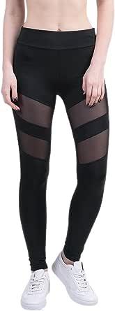 BOZEVON Women's Leggings, Plus Size High Waist Mesh Stitching Yoga Pants Running Tights for Gym & Workout