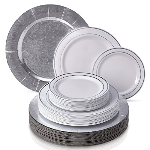 CLASSIC SILVER GLARE COLLECTION DINNERWARE SET|240 PC SET|80 Charger Plates|80 Dinner Plates|80 Salad Plates|Durable Plastic Dishes|Elegant Fine China Look|for Upscale Wedding and Dining(Silver/White) (Charger Thanksgiving Plates)