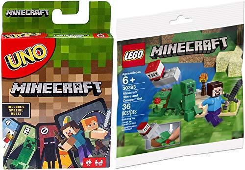 LEGO Launch Block Minecraft TNT Steve & Creeper Mini-Figure Set 30393 Incluido con Matching Adventure Go Card Game Special Uno Rule 2-Items Mine & Dig in