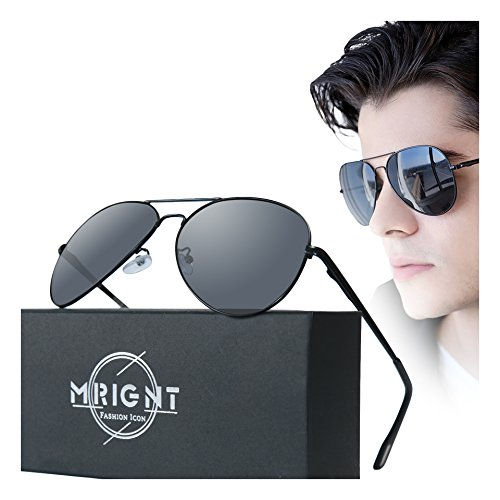 Men Military Classic Aviator polarized Sunglasses UV400 with A Sunglasses - Mens Aviator Sunglasses