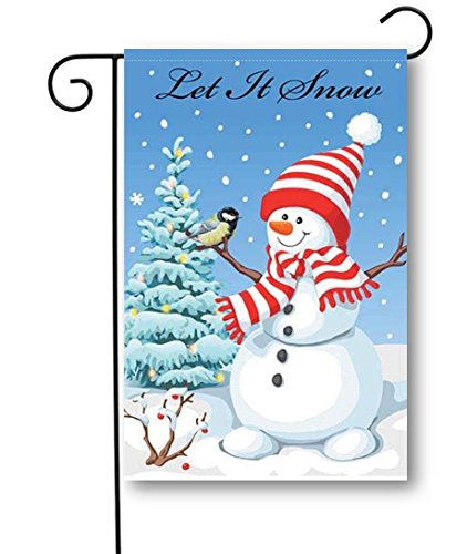 """Snowman with Stocking Hat - Winter Garden Flag - 12.5"""" W X 18"""" H - 100% 300D Polyester Fabric"""
