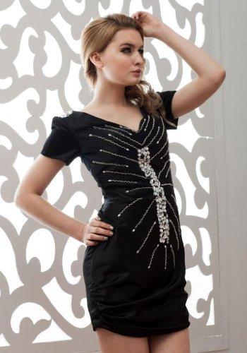 GEORGE BRIDE Kurz mit Aermeln Abendkleid Schwarz Perlen kurzen 8rwZAqx8U