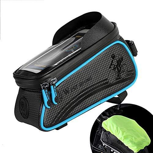 自転車ハンドルトップチューブフレームバッグ、携帯用自転車タッチスクリーン用防水バッグサイクリングポーチ、大容量、6.0インチ以内の電話用収納バッグ